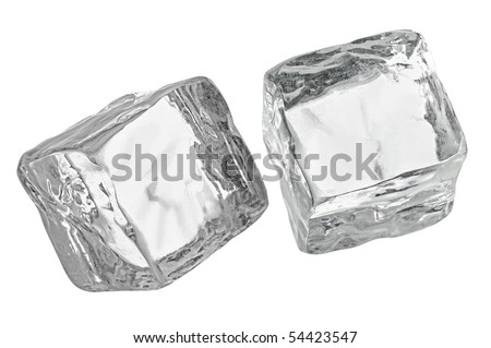 2 Ice cubes Isolated with Clipping Path