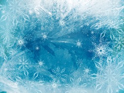 Ice on a window with snowflakes, background