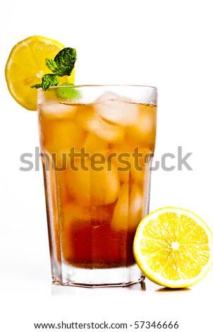 Iced tea with lemon isolated on white