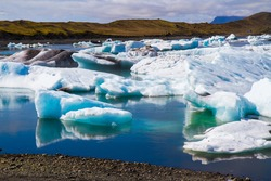 Iceland. The lagoon Jokulsaurloun in Skaftafell Park. Cold day in July. White and blue icebergs and ice floes reflected in the water. The concept of extreme, northern and photo tourism