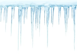 Icicles on a white background
