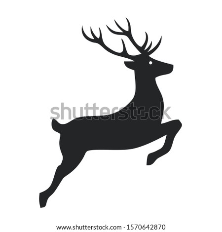 Icon deer sign. Image deer symbol sticker. Illustration animal wild nature deer sign in flat style. Image deer silhouette sign