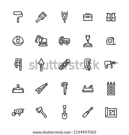 Icon set of construction,repair in line style.