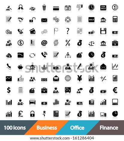 100 icons Business, Office & Finance.