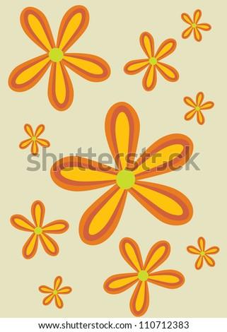 70ies retro orange flower pattern