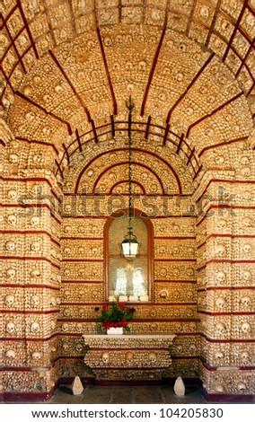 """""""Igreja do Carmo"""" Famous bone chapel detail, Faro, Algarve. Portugal"""
