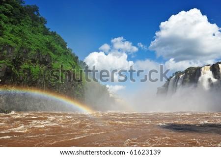 Iguassu river with rainbow, Argentina