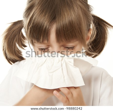 ill little girl with handkerchief