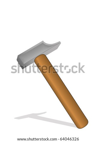 illustration a hammer with the wooden handle.