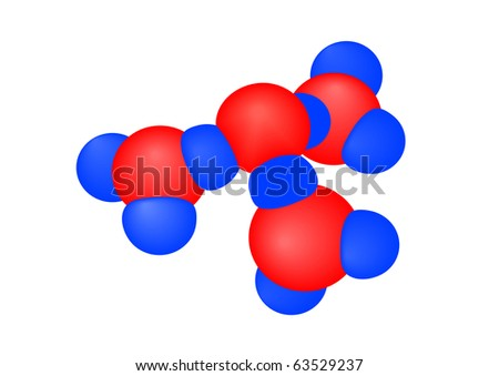 illustration a molecule with atoms on a white background