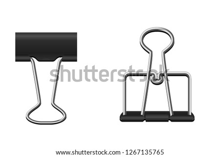 illustration black binder clip set on white background.