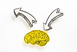 Illustration brain icon with sign plus and two arrows direction. Generate ideas concept.