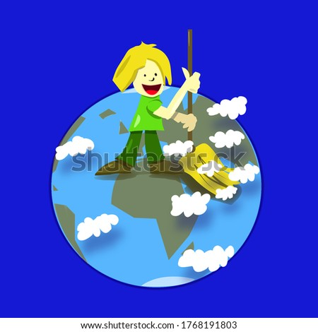 Illustration. Child uses a symbolic broom to clean the planet of pollution. Ecology is very important. Clouds are dust. We must take care of our land stock photo