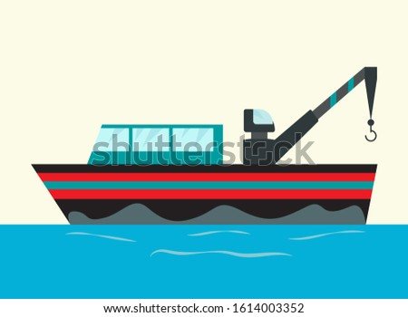 illustration fishing ships with hook. Ship at sea transport, shipping boat