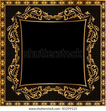 illustration frame background gold(en) pattern on black