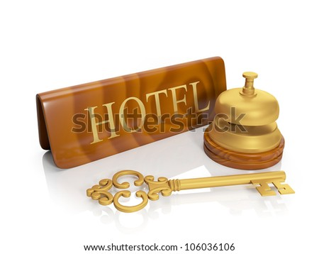 3�¤ illustration: Hotel hotel inscription and call, delivery of numbers, housing