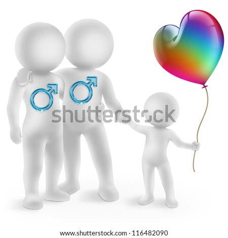 illustration of a gay couple with adopted child