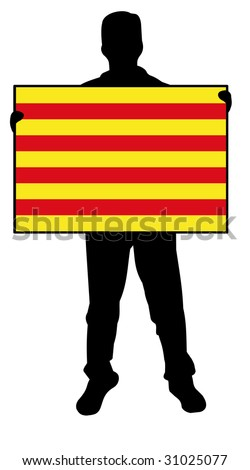 illustration of a man holding a flag of catalonia
