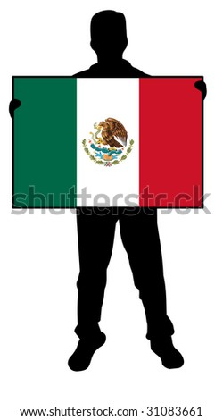 illustration of a man holding a flag of mexico