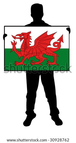 illustration of a  man holding a flag of wales