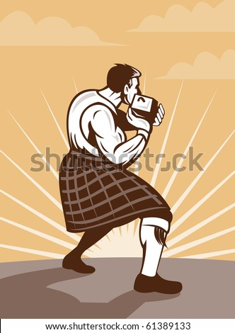illustration of  a Scotsman in traditional Scottish game  and kilt throwing stone put done in retro style. Сток-фото ©