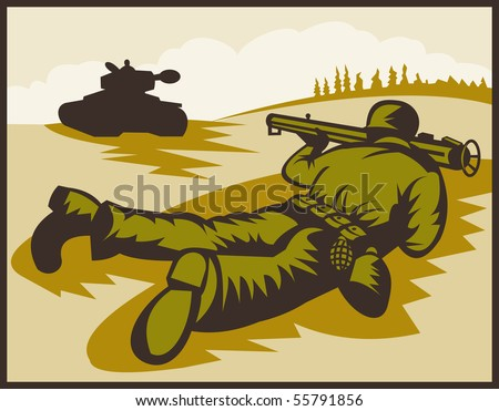 illustration of a World two soldier aiming bazooka at battle tank.