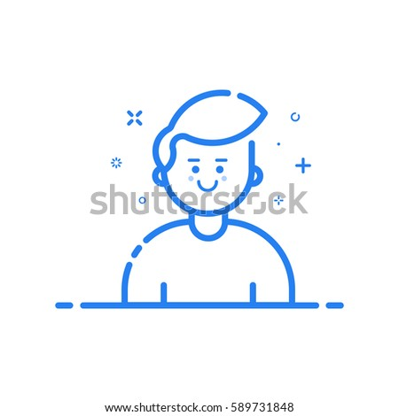 illustration of blue icon in flat line style. Linear cute and happy man. Graphic design concept of boy avatar use in Web Project and Applications Outline isolated object.