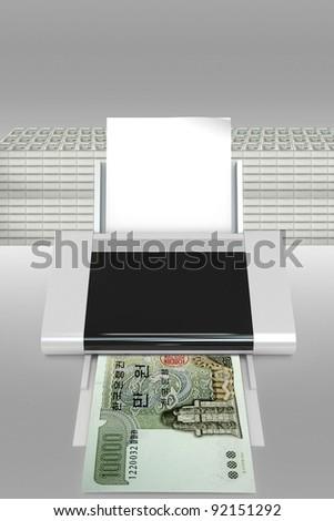 illustration of counterfeit dollar bills