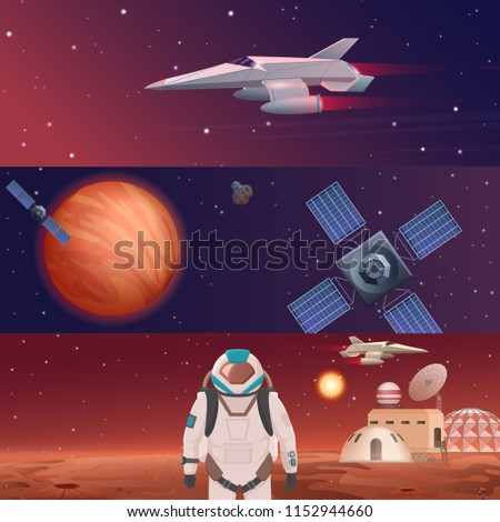 illustration of different banners with planets colonization, astronaut dedicated to space exploring, spaceship force, solar system exploration by satellites.