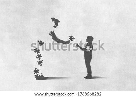illustration of father giving the missing puzzle to his son, sacrifice concept