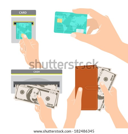 Illustration of Hands holding money, credit card and purse