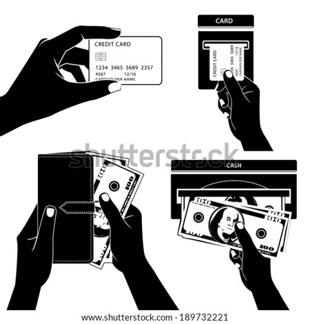 Illustration of Icon set with Hands holding credit card, money and other commercial objects