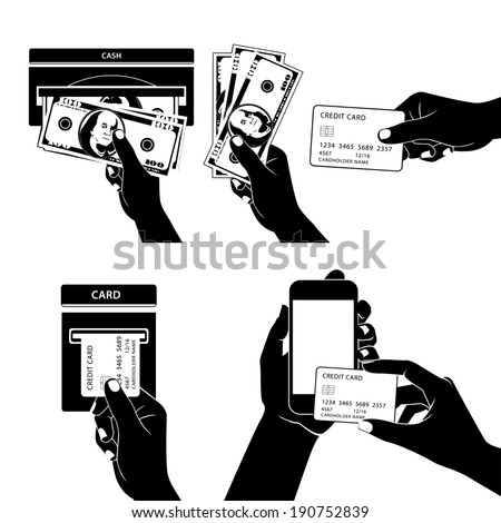 Illustration of Icon set with Hands holding credit card, smartphone, money and other commercial objects