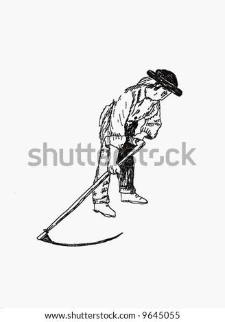 Illustration of man to work with scythe.