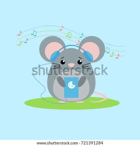 Stock Photo  illustration of mouse listens to music. Cute flat design