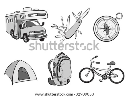 illustration of Outdoor and camping icons. Includes icons of  compass, Travel Trailer, penknife, tent, rucksack and bicycle.
