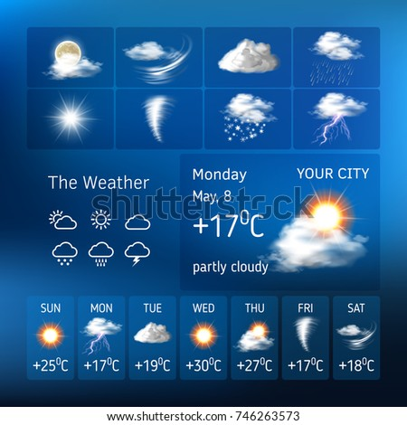 illustration of realistic weather symbols, design for a mobile application weather forecast , a widgets layout of a meteorological application
