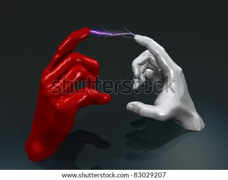 """""""illustration of two hands in white and red color leaving sparks   """""""