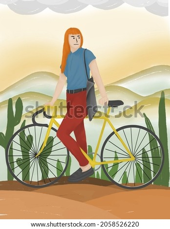Illustration of woman riding a fixie bike. Print pictures for posters, wall pictures