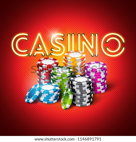 illustration on a casino theme with shiny neon light letter and colorful chips on red background. Gambling design for invitation or promo banner. JPG version.