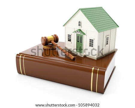 3�¤ illustration: Protection of the rights of a private property. The house costs on books with the law, to pass the judgment