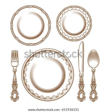 illustration set of vintage silver cutlery and porcelain plates