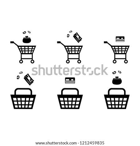 illustration, shopping cart black silhouette with the gift silhouette.