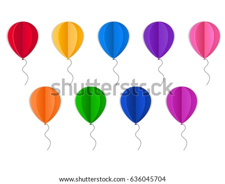 illustration with paper colored balloons on blue background