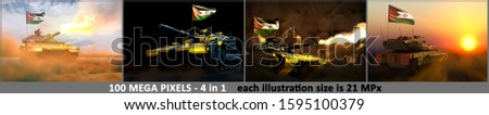 4 illustrations of high resolution tank with fictional design and with Western Sahara flag - Western Sahara army concept with place for your content, military 3D Illustration