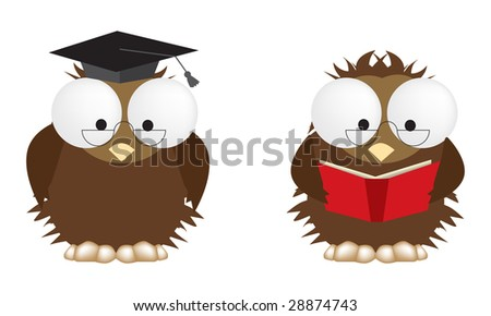 2 illustrations of studious owls, fully editable