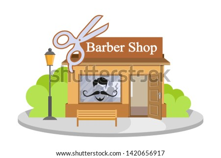 image barbershop. Facade of barbershop isolated on white background. Barber house. Cuts hair building. Barbershop emblem.