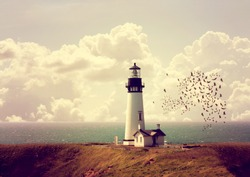 image from outdoor texture background series (old white lighthouse on the ocean coastline) toned with a retro vintage instagram filter effect