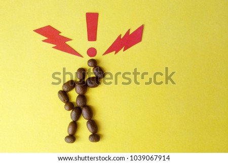 Image of a coffee bean man on yellow background paper signs lightning bolt and exclamation point symbol of super energy-charged coffee man