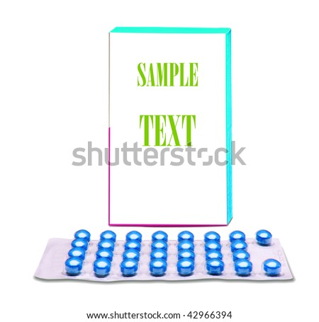 Image of a pills blister front of the box over white background